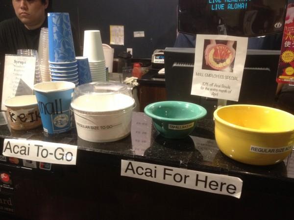 大きさも選べるうえ、To Go(テイクアウト)用のカップもあるBlue Hawaii Life Style(ブルー・ハワイ・ライフスタイル)のアサイーボウル