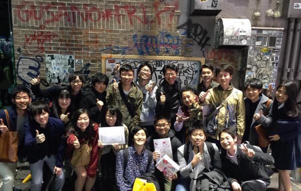 卒業飲みでのe-EducationとSVP東京の集合写真