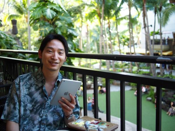 ハワイにてiPad miniで読書